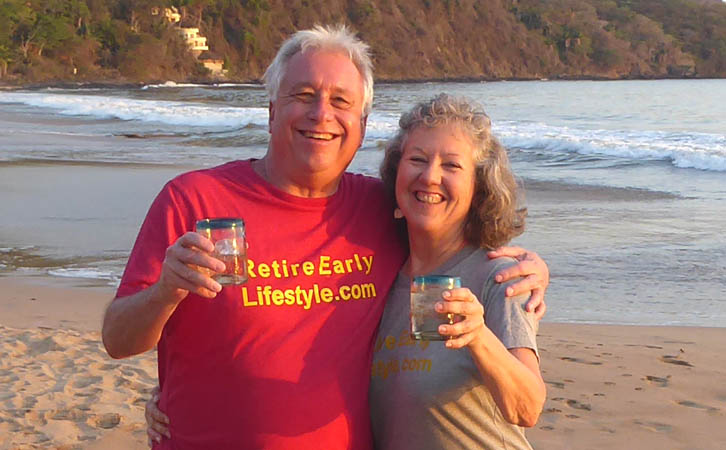 Billy and Akaisha toasting the reader while on Chacala Beach, Mexico