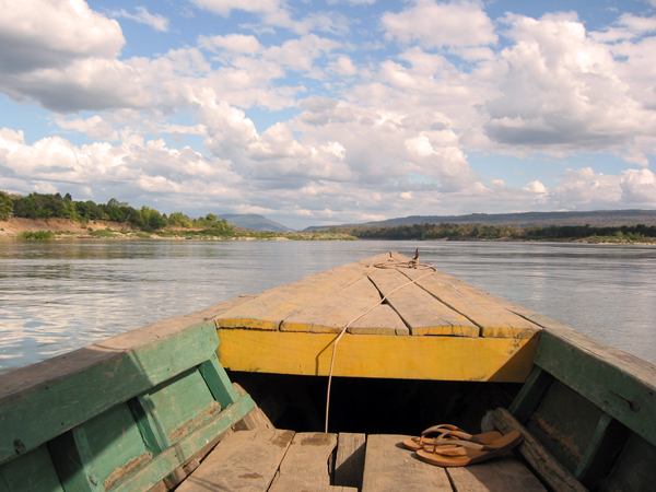 Boating on the Mekong River between Thailand and Laos
