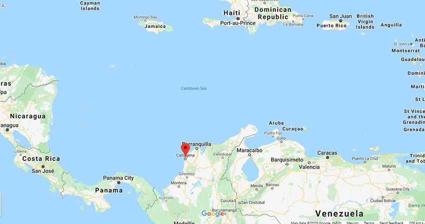 The location of Cartagena, Colombia on a map