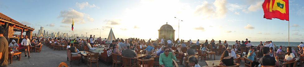 Inside the Walled City of Cartagena, Cafe del Mar rooftop bar, Colombia