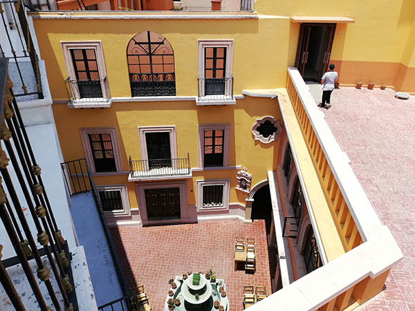 Looking down into the courtyard from our balcony, San Diego Hotel, Guanajuato