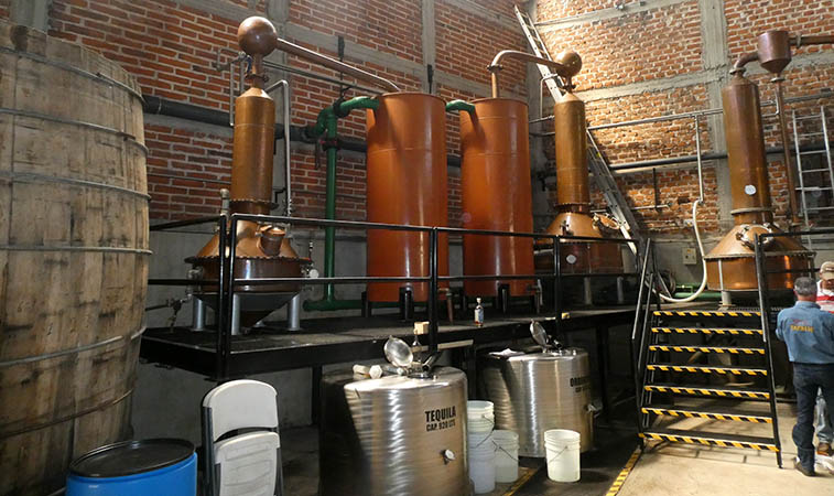 Copper stills at La Altena Distillery, Arandas, Jalisco, Mexico