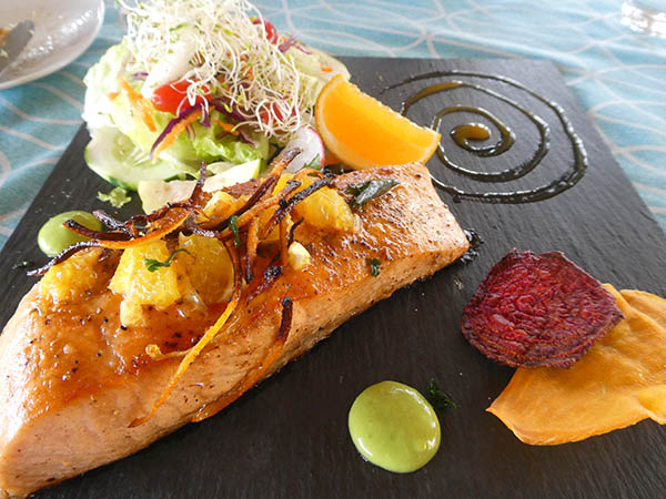 Salmon with orange sauce, restaurant Letra CH, Chapala, Mexico