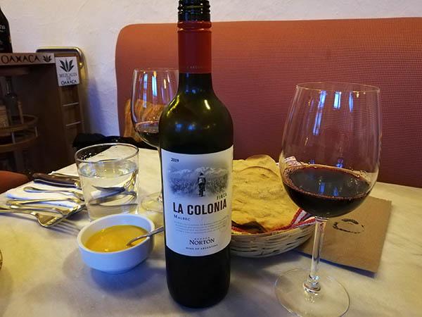 Bottle of Malbec and appetizers at Origen Restaurant, Oaxaca