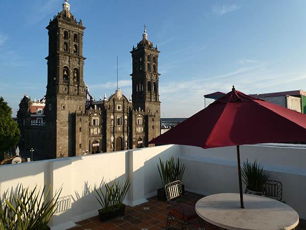 Roof top terrace at Hotel Santiago, Puebla, Mexico