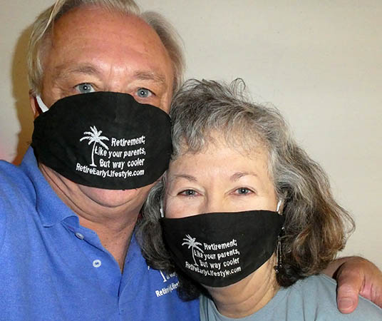 Billy and Akaisha in their RetireEarlyLifestyle face masks