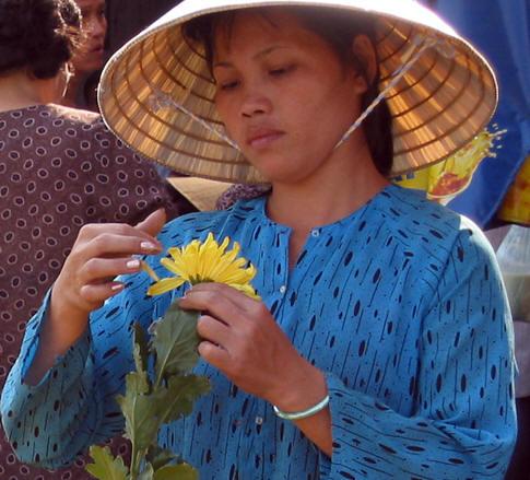 Vietnamese flower vendor