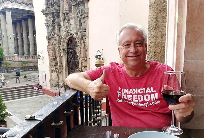 Billy at our balcony table, La Trattoria Restaurant, Guanajuato, Mexico