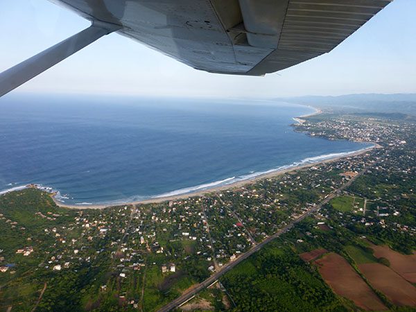 The expansive Zicatela Beach from above