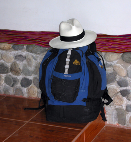 Kelty backpack with Panama hat on top