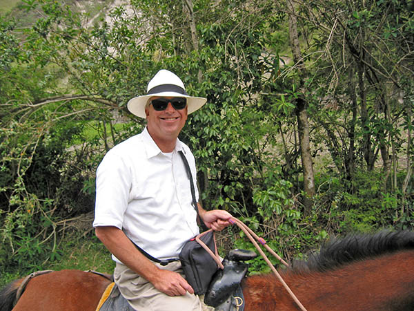 Billy horseback riding in the Andes Mountains in Ecuador