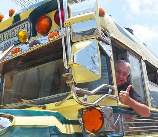Billy driving a Chicken Bus in Guatemala