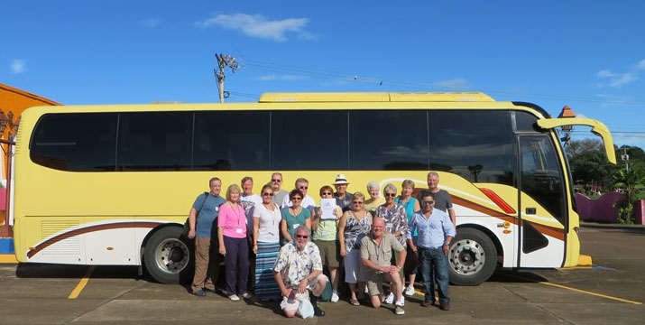 Jackie's tour bus and a sample tour group