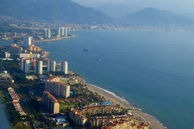 The view of Puerto Vallarta from our plane window