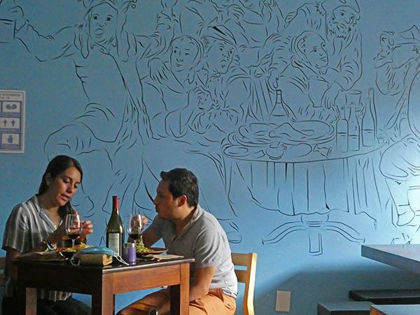 mural painted inside Tastavins Tapas Bar, Oaxaca