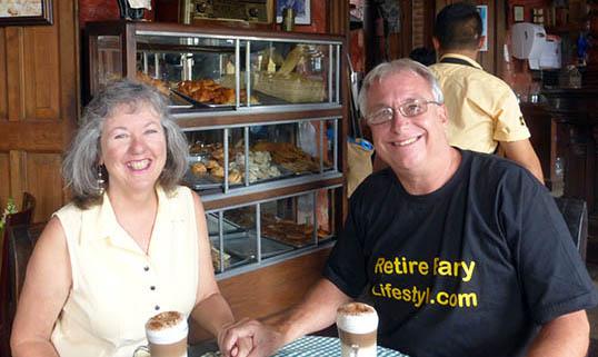 Akaisha and Billy in Cafe Viejo, Antigua, Guatemala