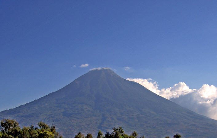 Volcan de Agua as seen from our hotel rooftop