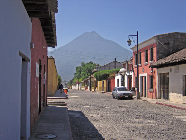 Antigua Street with Volcan de Agua in the background
