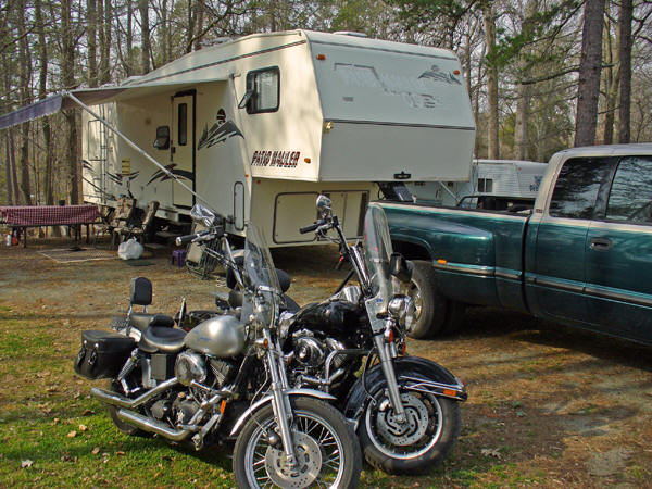 The Metcalf's 35 ft. 5th wheel with garage to hold motorbikes