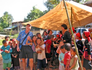Billy with hill tribe kids, Thailand