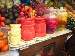 Piles of fruit and aqua frescas, Comitan Market