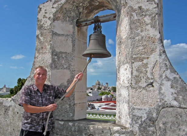 Billy ringing the bell at one of the watch towers