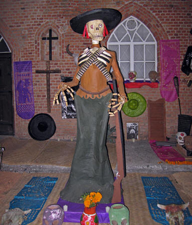 A female Catrina representing the Mexican Revolution. Days of the Dead, Chapala, Mexico