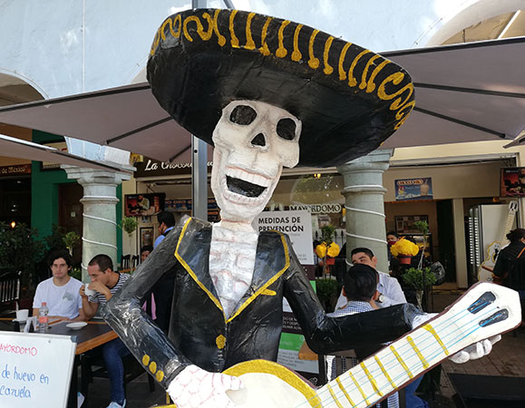 Male Catrina playing Guitar, Puebla, Mexico