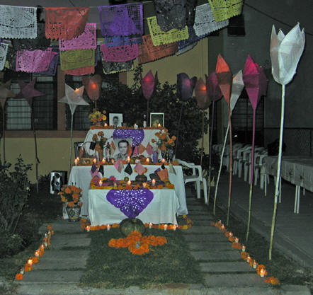 Pine needles form a pathway to the memorial altar. Days of the Dead, Chapala, Mexico