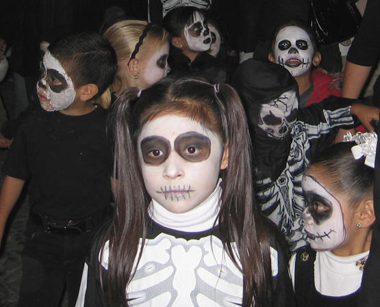 Little children dressed as little skeletons. Days of the Dead, Chapala, Mexico