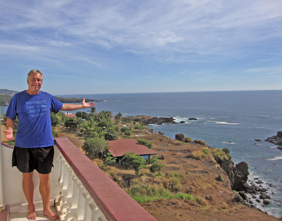Billy on our balcony in Stunning, spectacular Caleta de Campos, Mexico