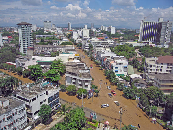 A bird's eye view of flooded Chiang Mai.