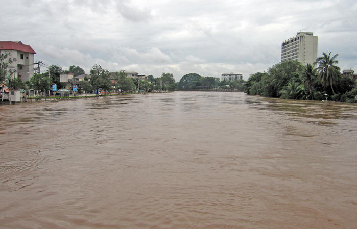 The swollen Mae Ping River.