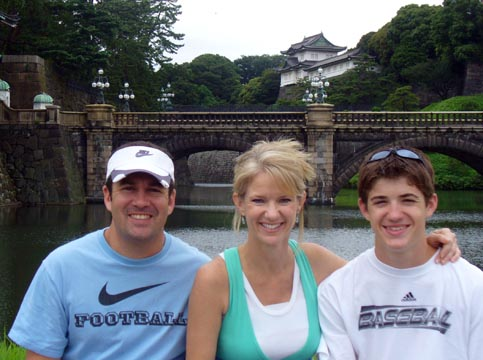 The family in Tokyo with Imperial Palace