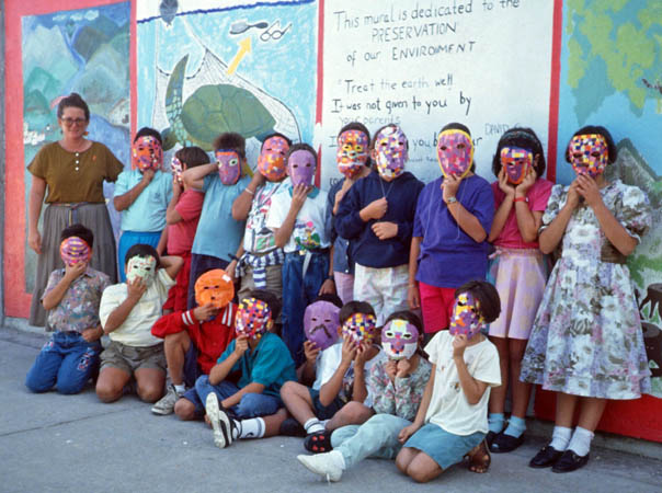 Suzanne with 3rd grade students in Puerto Vallarta, Mexico