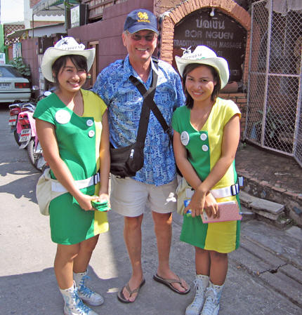 Having fun with Thai girls promoting a Thai product