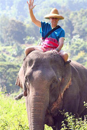 Kim as Elephant owner for a day in Chiang Mai, Thailand