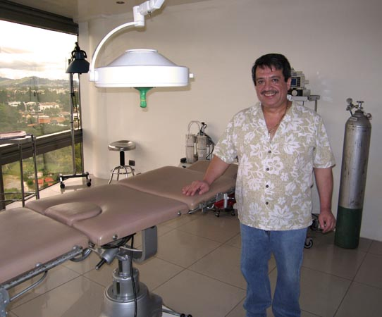 Bilingual hand surgeon in his private operating room, Guatemala City, Guatemala