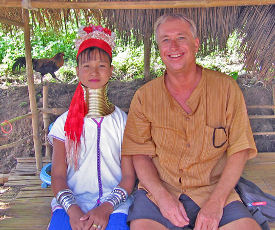 Billy with a long neck tribe woman, Thailand