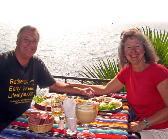 Billy and Akaisha eating Lunch on the shores of Lake Atitlan, Guatemala