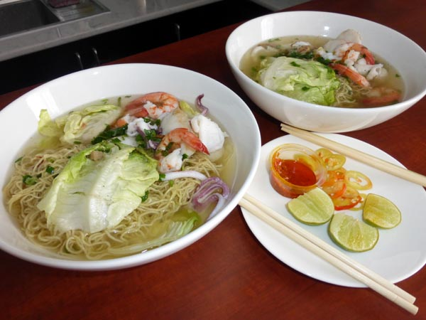 Egg noodle soup with seafood