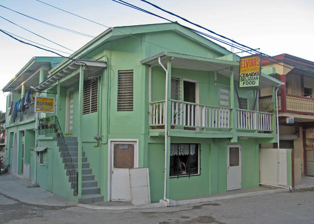 Typical Belizean pastel colored building in San Ignacio, Belize