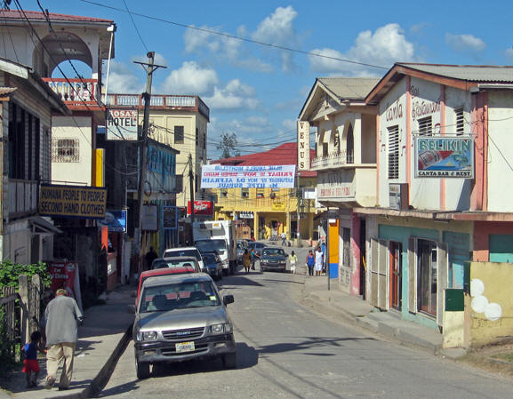 Hudson Street, one of the main streets in San Ignacio, Belize