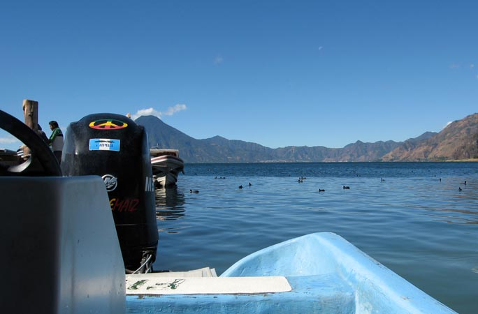 Heading out across the volcanic lake