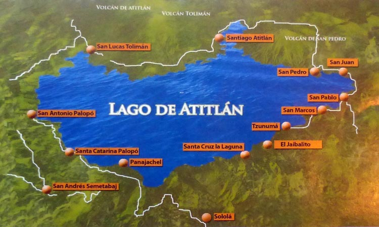 Map of beautiful Lake Atitlan