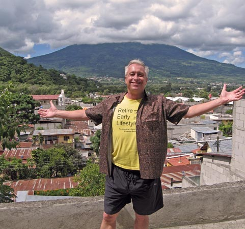 Billy on top of the roof in Santa Ana, Guatemala