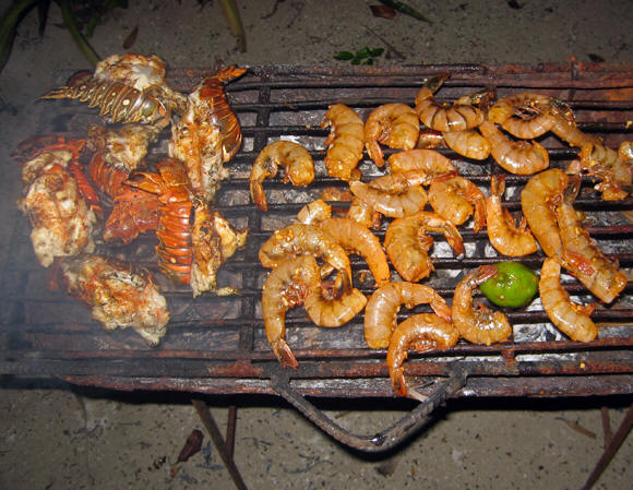 A lobster and shrimp barby on the beach